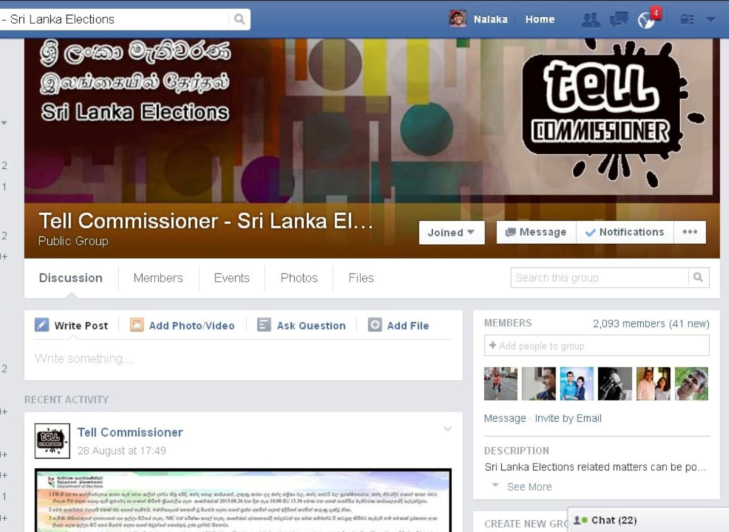 Tell Commissioner Facebook Page, captured on 31 Aug 2015